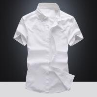 短袖衬衫男士夏季韩版潮流修身青年寸衫薄款休闲帅气纯棉白衬衣男