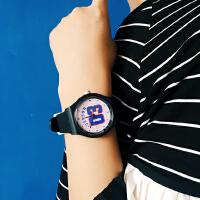 韩国手表复古韩版学生数字撞色简约男表女表橡胶带男女情侣手表