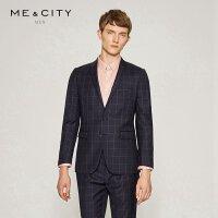 【2件1.5折价:160.4】MECITY男装纯羊毛黑色格子西装男韩版修身商务西服外套