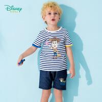 【3件3折到手价:57.9】迪士尼Disney童装 宝宝运动套装夏季新款儿童条纹短袖印花哈伦短裤两件套