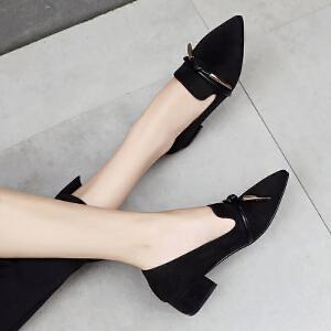 ZHR2018秋季新款韩版尖头浅口单鞋粗跟休闲鞋百搭女鞋黑色鞋子潮