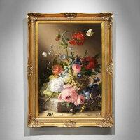 欧式花卉油画手绘走廊壁画客厅挂画美式玄关壁炉装饰画餐厅画竖版 80*160 连框尺寸(7-10天发货)
