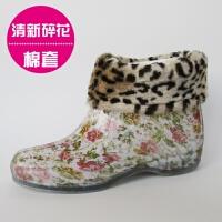 韩版果冻时尚雨鞋女士低帮短筒水靴单鞋水鞋胶鞋防滑防水雨靴套鞋 +棉套