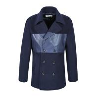 冬季中�L款�L衣�n版撞色拼接外套男�r尚上衣 藏青色