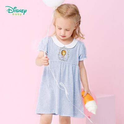 迪士尼Disney女童连衣裙夏装女宝宝娃娃领甜美公主裙162Q630 甜美娃娃领连衣裙