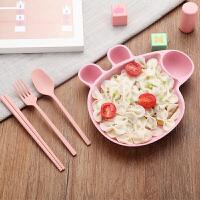 白领公社 餐具套装 家用日式创意可爱卡通小麦秸秆儿童筷叉勺子三件套小猪分格碗宝宝礼品厨房用品