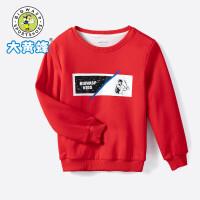 大黄蜂童装 男童卫衣2019秋季新款男孩韩版加绒上衣儿童套头长袖