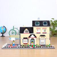 万格积木城市模型别墅花园拼装房子6岁以上积木玩具儿童礼物34052