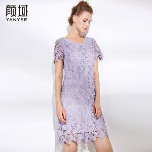 颜域女装2018夏装新款气质减龄短袖收腰显瘦水溶镂空蕾丝连衣裙女
