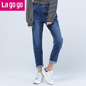 Lagogo/拉谷谷2017年秋冬新款简约铅笔裤高腰显瘦小脚牛仔裤女