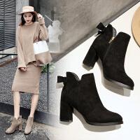 ZHR粗跟短靴女韩版时尚高跟加绒切尔西靴尖头女靴子2018冬季新款