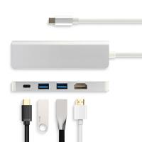 USB-C转HDMI电视Type-c笔记本扩展坞HUB集线器PD转USB雷电3苹果戴尔惠普转换器联 银色【2个USB+