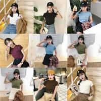 ulzzangt恤女短袖韩版夏装2018新款糖果色精神女装上衣社会打底衫