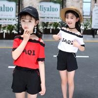 童装套装夏季新款露一字肩中大童短袖T恤短裤两件套时髦潮女