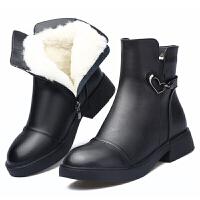 ����棉鞋冬季真皮女士羊毛靴保暖加�q短靴低跟�底�R丁靴冬鞋真皮 黑色 羊毛厚*品