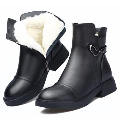 妈妈棉鞋冬季真皮女士羊毛靴保暖加绒短靴低跟软底马丁靴冬鞋真皮 黑色 羊毛厚*品