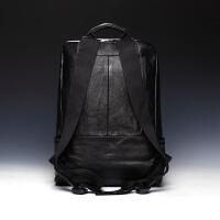 潮流欧美时尚男包韩版双肩包男士真皮背包铆钉休闲书包旅行包牛皮SN8855 黑色 经典款布肩带