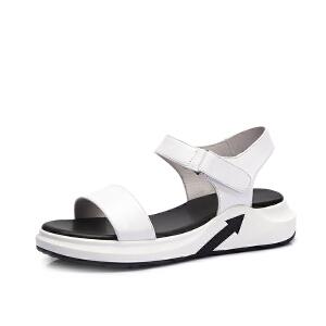 骆驼女鞋 2018夏季新品 时尚韩版凉鞋女便捷魔术贴平跟舒适凉鞋女