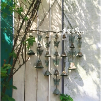 园艺装饰挂件欧式做旧感垂吊铁艺风铃挂件欢迎门铃挂件