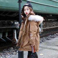 女童棉衣2018新款韩版女孩冬季外套洋气中长款棉袄中大童加厚