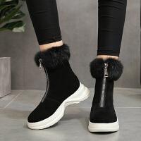 雪地靴 女士前拉链内增高保暖短靴2020秋冬女式学生圆头高帮厚底毛毛靴子