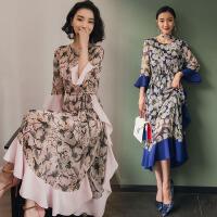 2018春装新款雪纺连衣裙女中长款荷叶边裙波西米亚民族风度假长裙