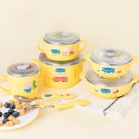 韩国进口小猪佩奇不锈钢儿童婴儿餐具套装宝宝幼儿园带手柄碗防摔