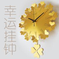 创意挂钟客厅现代静音幸运草金属钟表四叶草石英钟卧室时钟挂表 15英寸