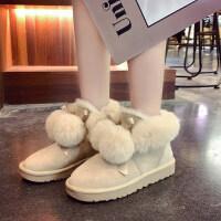 雪地靴女毛球可爱棉鞋女时尚绒面短筒防滑雪地靴百搭靴子