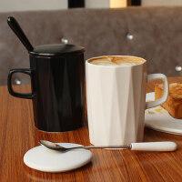 北欧式简约陶瓷马克杯子带盖勺 咖啡杯情侣办公室家用创意喝水杯