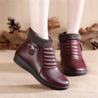 乌龟先森 妈妈鞋 冬季新款妈妈鞋女棉鞋中老年人加绒保暖平底皮棉鞋软底防滑短靴