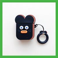 ins可爱卡通香肠嘴2代创意苹果无线蓝牙耳机硅胶壳 airpods套-手环香肠嘴 黑色