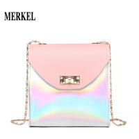 莫尔克新款时尚韩版甜美女士单肩包拼色链条小包包迷你包