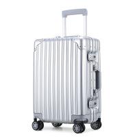 【支持�Y品卡】24寸�X框拉�U箱ABS+PC行李箱�f向�海�P密�a旅行箱20寸登�C箱皮箱5wq