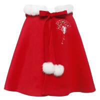 中国风汉服女童唐装冬装连帽斗篷披肩过年喜庆宝宝装儿童披风《喜