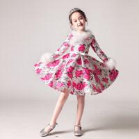女童长袖加绒加厚公主裙花童蓬蓬裙儿童小主持人表演服晚礼服冬季 图片色