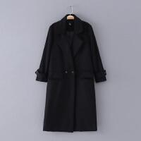 580 女装 冬季新款简约纯色显瘦长袖西装领长款外套毛呢大衣