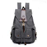 复古帆布背包男抽带包双肩旅行包高中学生书包女韩版潮大容量背包