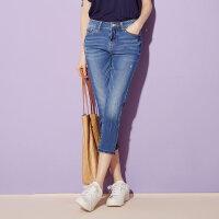 【618返场购,每满200减100】美特斯邦威官方旗舰店牛仔裤女士夏装新款韩版直筒显瘦七分裤子
