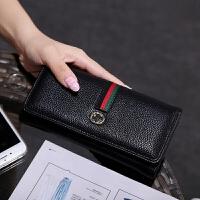 韩版钱包女士长款新款潮搭扣手拿时尚多功能折叠钱夹女皮夹子 黑色 819#长款升级版