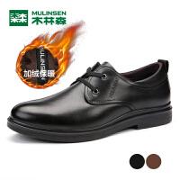 木林森男士休闲鞋加绒保暖皮鞋中老年皮鞋