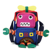 ?韩版机器人卡通手机包儿童幼儿园单肩小背包男女宝宝可爱玩具书包
