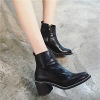 黑色高跟短靴女侧拉链粗跟皮靴欧美风短筒单靴及踝靴新款