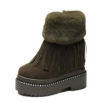 秋冬季新款内增高流苏马丁靴女士厚底绒面短靴兔毛保暖坡跟雪地靴