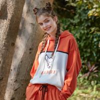 【5.16-5.17日抢购价:185】美特斯邦威卫衣女2020新款春季MTEE-奇趣丛林撞色印花连帽套头衫