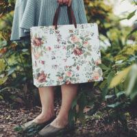 复古玫瑰印花礼物礼品牛皮纸袋女装服装店衣服手提面膜饰品袋子