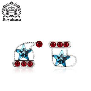 皇家莎莎S925银耳钉女圣诞礼品水晶靴子帽子耳饰耳环饰品新年礼物