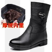 秋冬季中老年真皮短筒靴����鞋平底女士皮靴保暖加�q女靴短靴SN8531 35 正�a,��蚀a