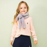 【3.5折价:136.15元】暇步士童装春季新款女童针织衫时尚甜美套头线衣儿童针织衫