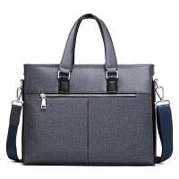 韩版商务手提包横款男士包包单肩斜挎包时尚多功能公文包男电脑包